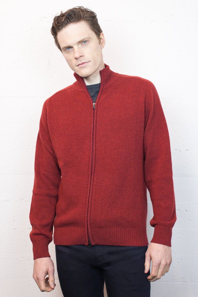 Red Lambswool Zip Jumper