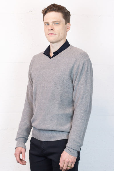 V Neck Grey Marl Jumper