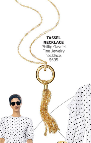 Phillip Gavriel Harper's Bazaar gold tassel necklace