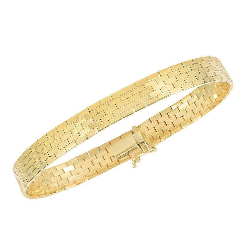 Phillip Gavriel 14K Yellow Gold Women's Bracelet featuring a Brick Pattern in 7