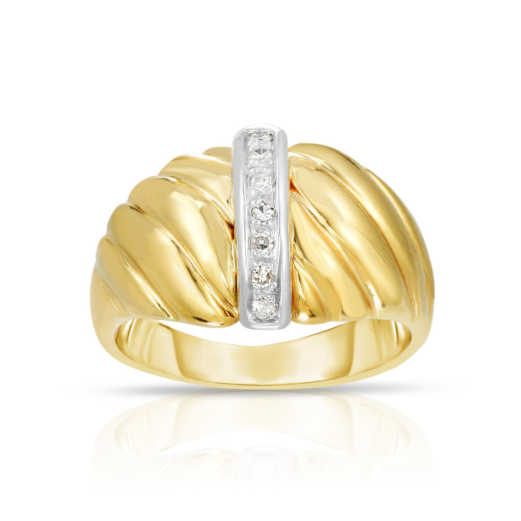 14K Gold Diamond Bar Sculpted Ring - Phillip Gavriel