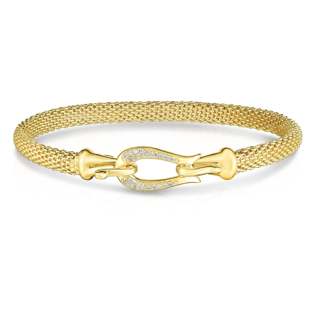 14K Gold Diamond Buckle Bangle - Phillip Gavriel