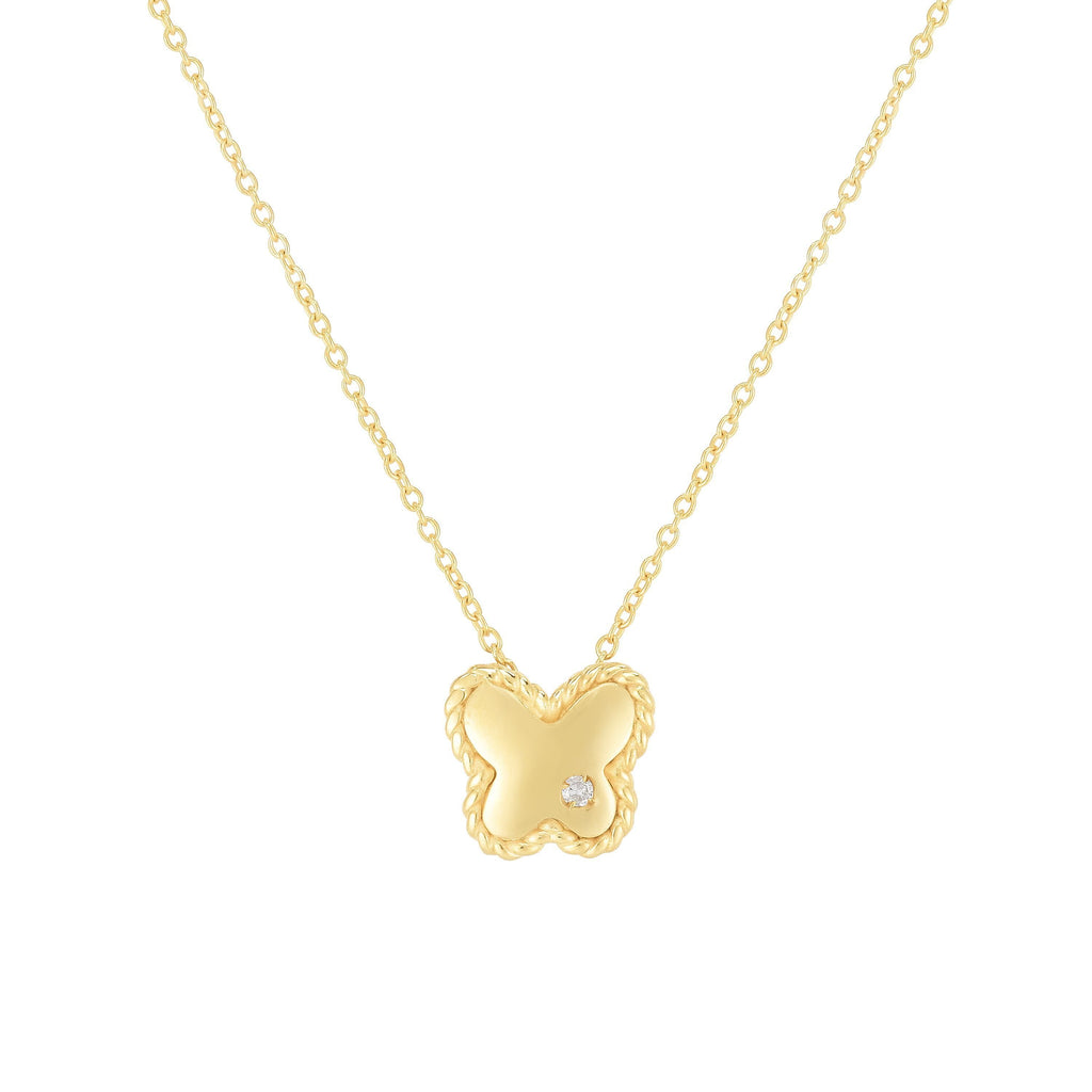 14K Gold Diamond Butterfly Piccolini Necklace - Phillip Gavriel