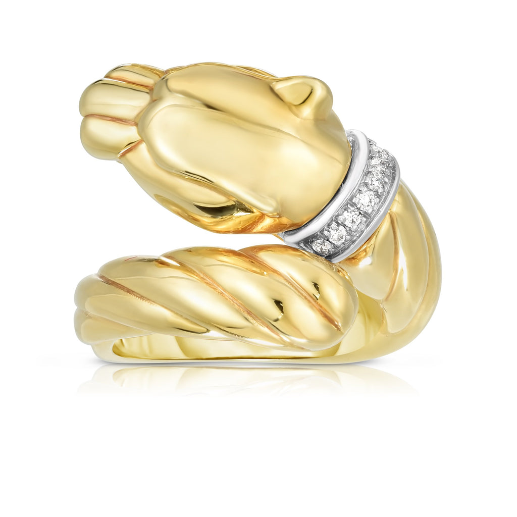 14K Gold Diamond Panther Ring - Phillip Gavriel
