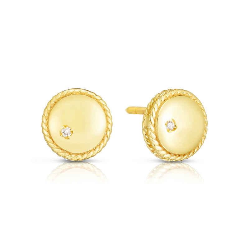 14K Gold Diamond Round Piccolini Studs - Phillip Gavriel