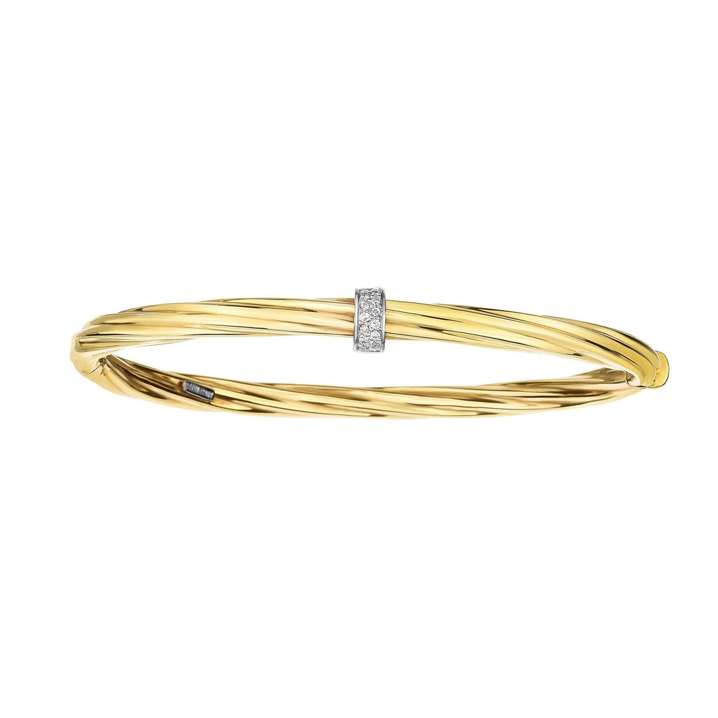 14K Gold Italian Cable Diamond Rondel Hinged Bangle - Phillip Gavriel