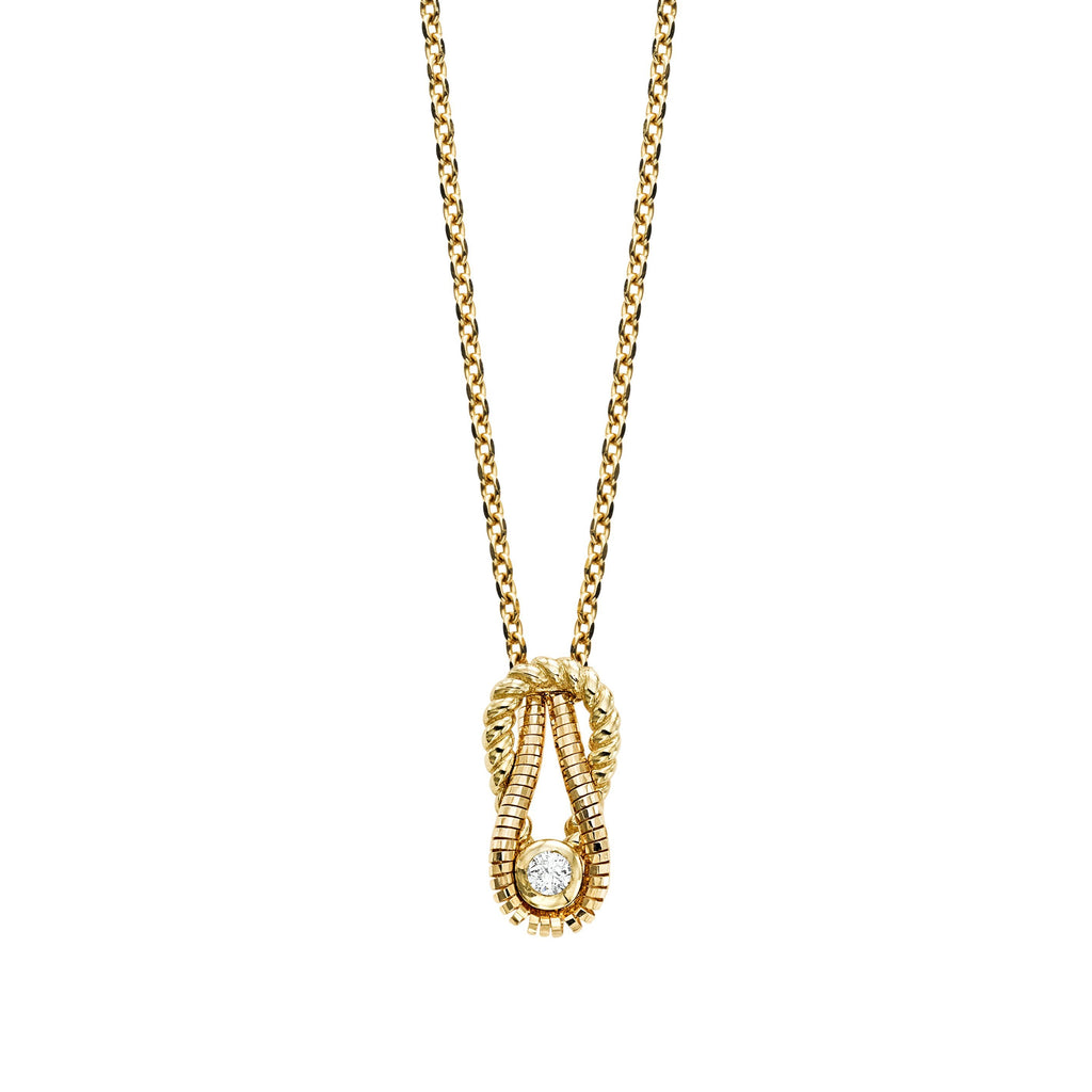 14K Gold Italian Cable L'Infinito Diamond Knot Necklace - Phillip Gavriel