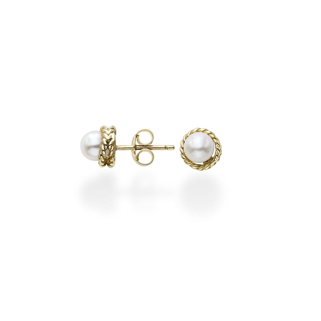 14K Gold Italian Cable Pearl Stud Earrings - Phillip Gavriel