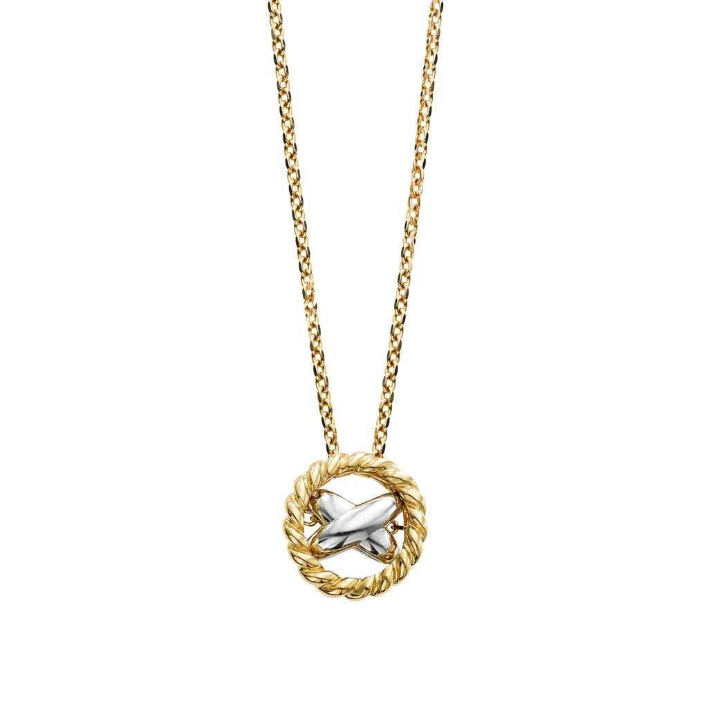 14K Gold Italian Cable Two-Tone X Necklace - Phillip Gavriel
