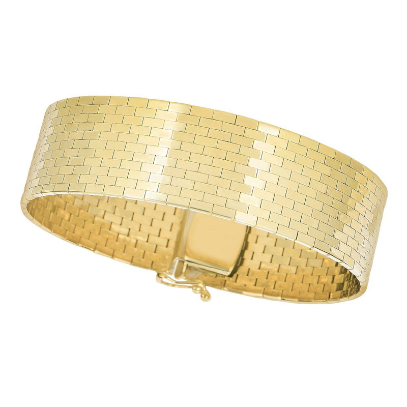 14K Gold Large Brick Bracelet - Phillip Gavriel