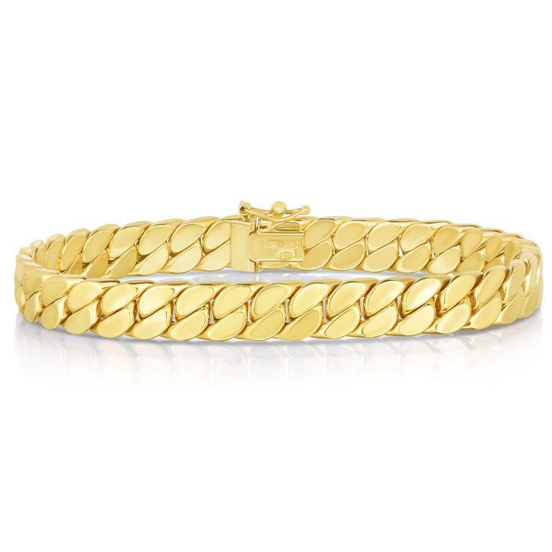 14K Gold Maschio Skinny Modern Curb Bracelet For Men - Phillip Gavriel