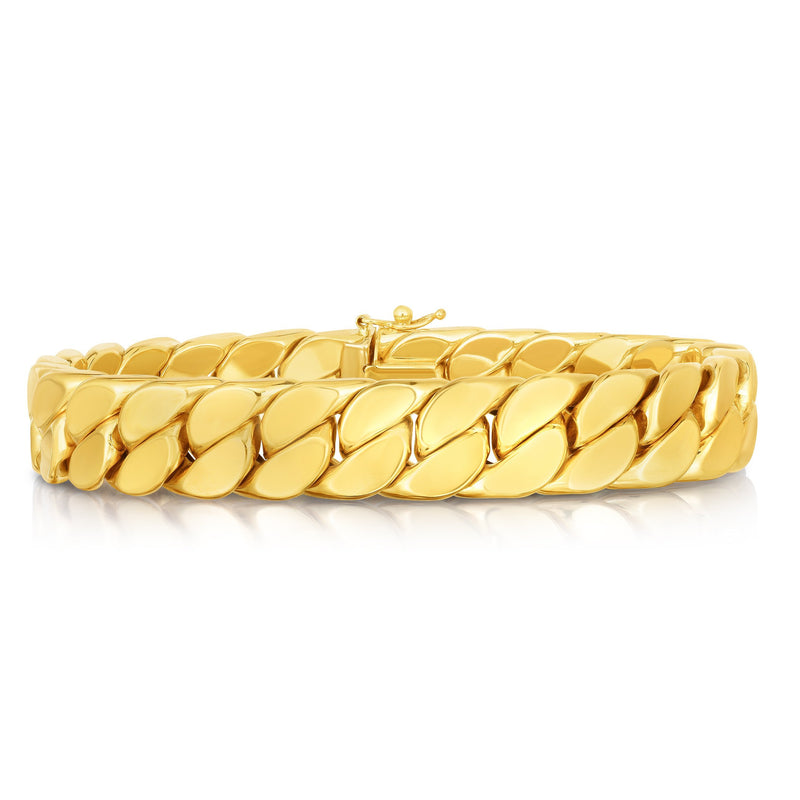 14K Gold Maschio Thick Modern Curb Bracelet For Men - Phillip Gavriel