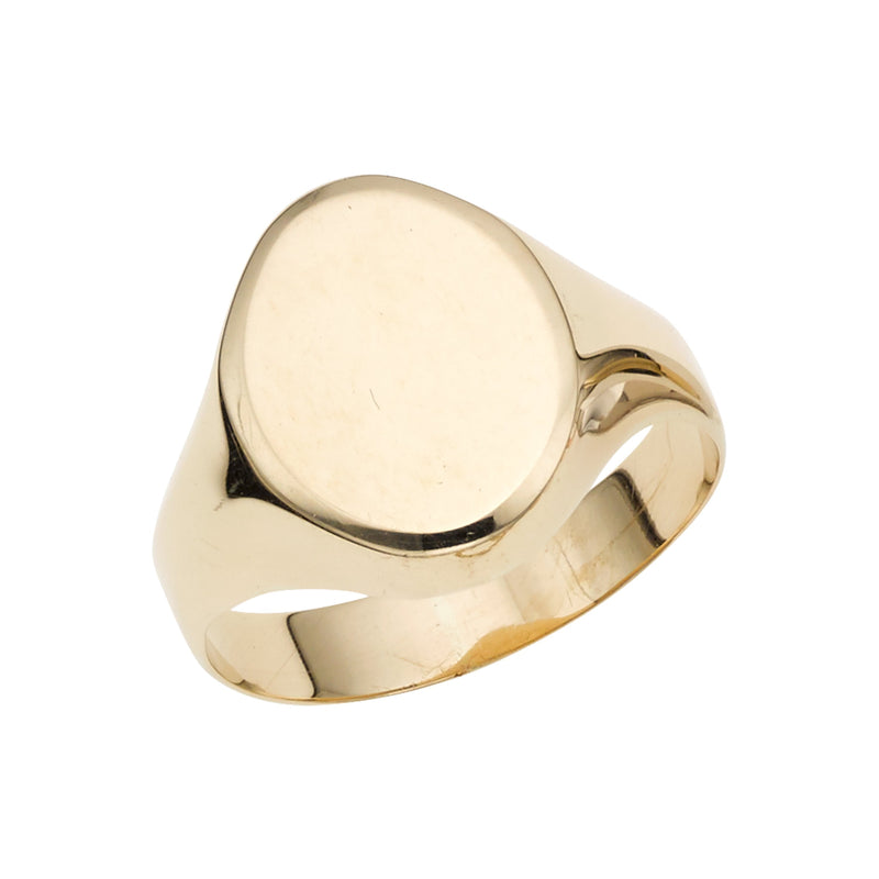 14K Gold Polished Oval Signet Ring - Phillip Gavriel