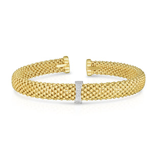 14K Gold Popcorn Bangle with .05CT Diamonds - Phillip Gavriel