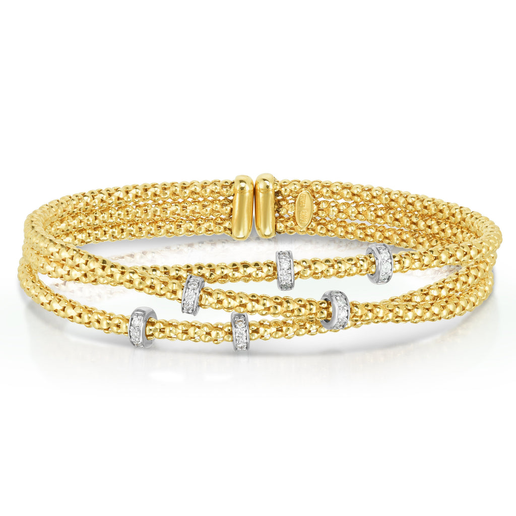 14K Gold Popcorn Diamond Multi-Strand Braided Bangle - Phillip Gavriel