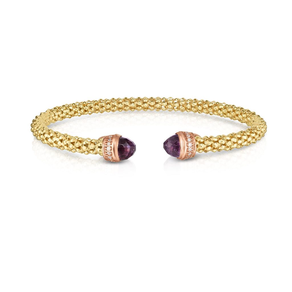 14K Gold Popcorn Gemstone Cuff With Diamonds - Phillip Gavriel