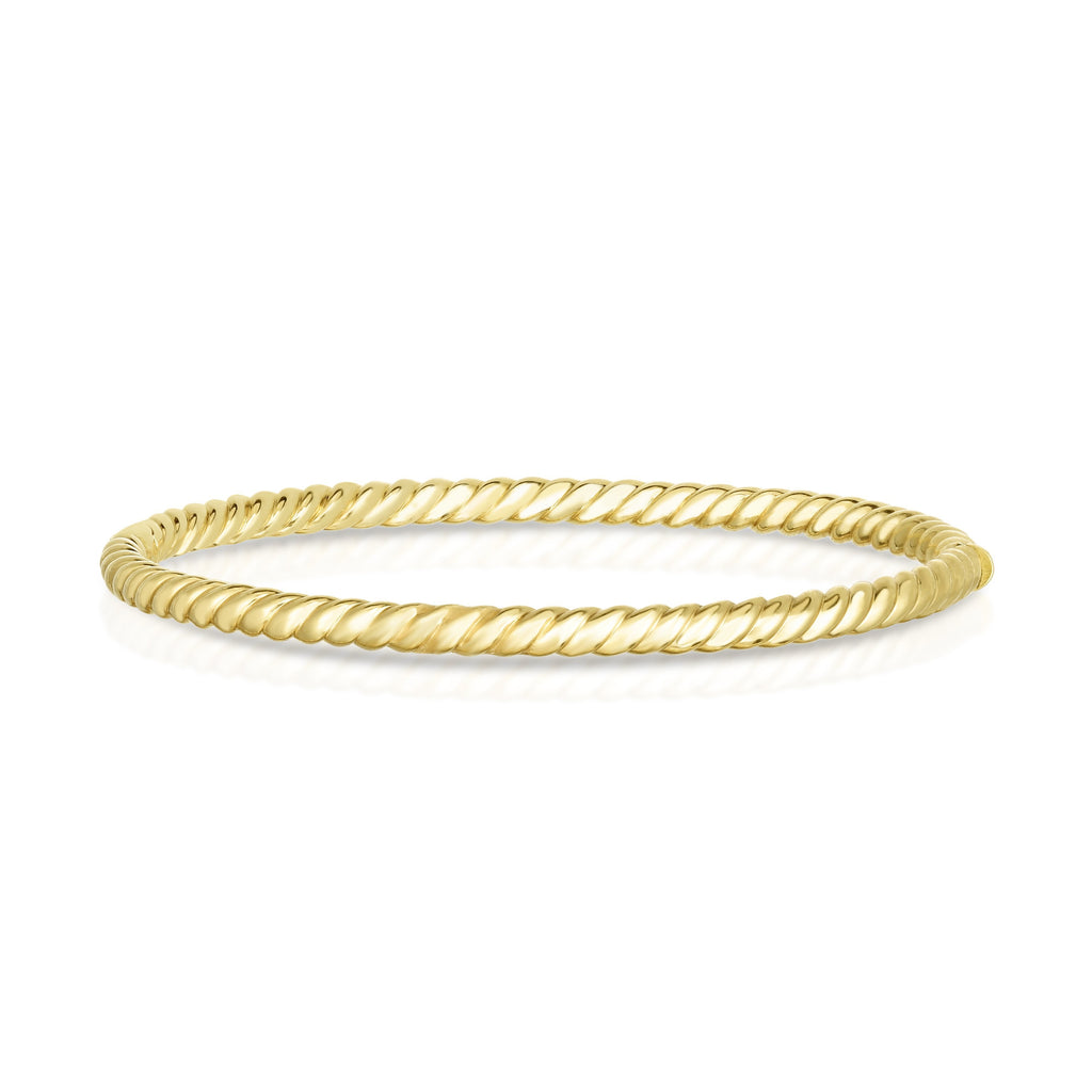 14K Gold Sculpted Twist 3.5mm Bangle - Phillip Gavriel