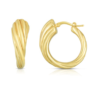 14K Gold Sculpted Twist Hoop Earrings - Phillip Gavriel