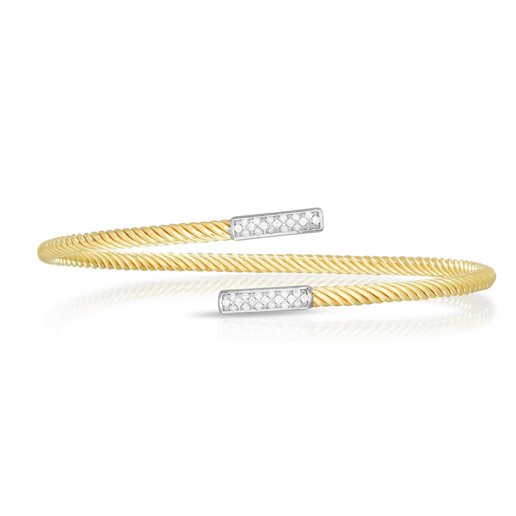 14K Gold True Twist Diamond Long Bar Bypass Bangle - Phillip Gavriel