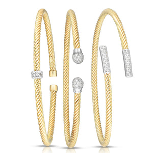 14K Gold True Twist Diamond Rondel Cuff - Phillip Gavriel