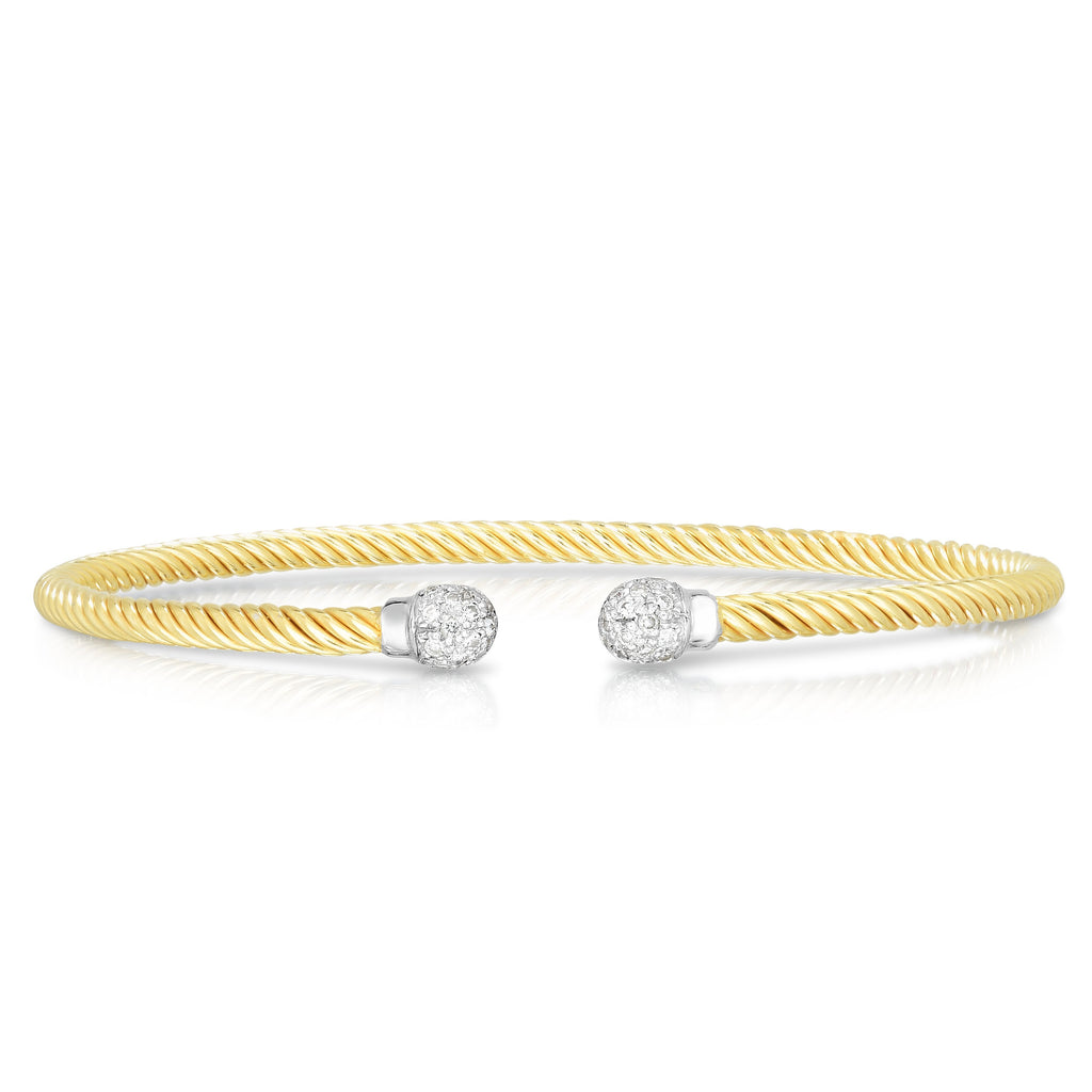 14K Gold True Twist Pavé Bead Diamond Cuff Bangle - Phillip Gavriel