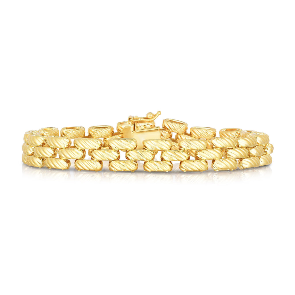 14K Gold Twisted Panther Link Bracelet - Phillip Gavriel