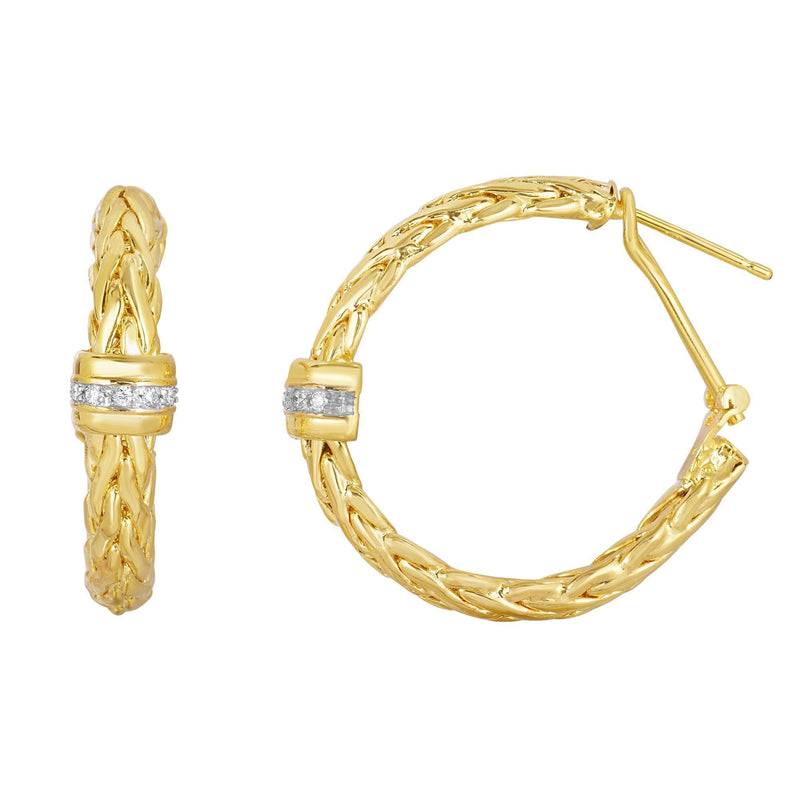 14K Gold Woven Diamond Hoop Earrings - Phillip Gavriel
