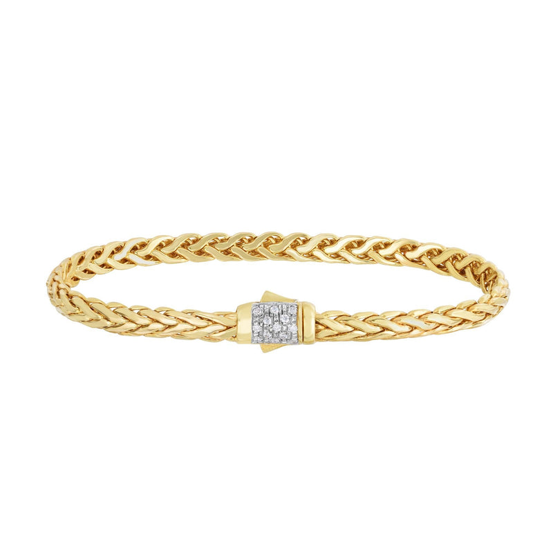 14K Gold Woven Diamond Pave Lock Bracelet - Phillip Gavriel