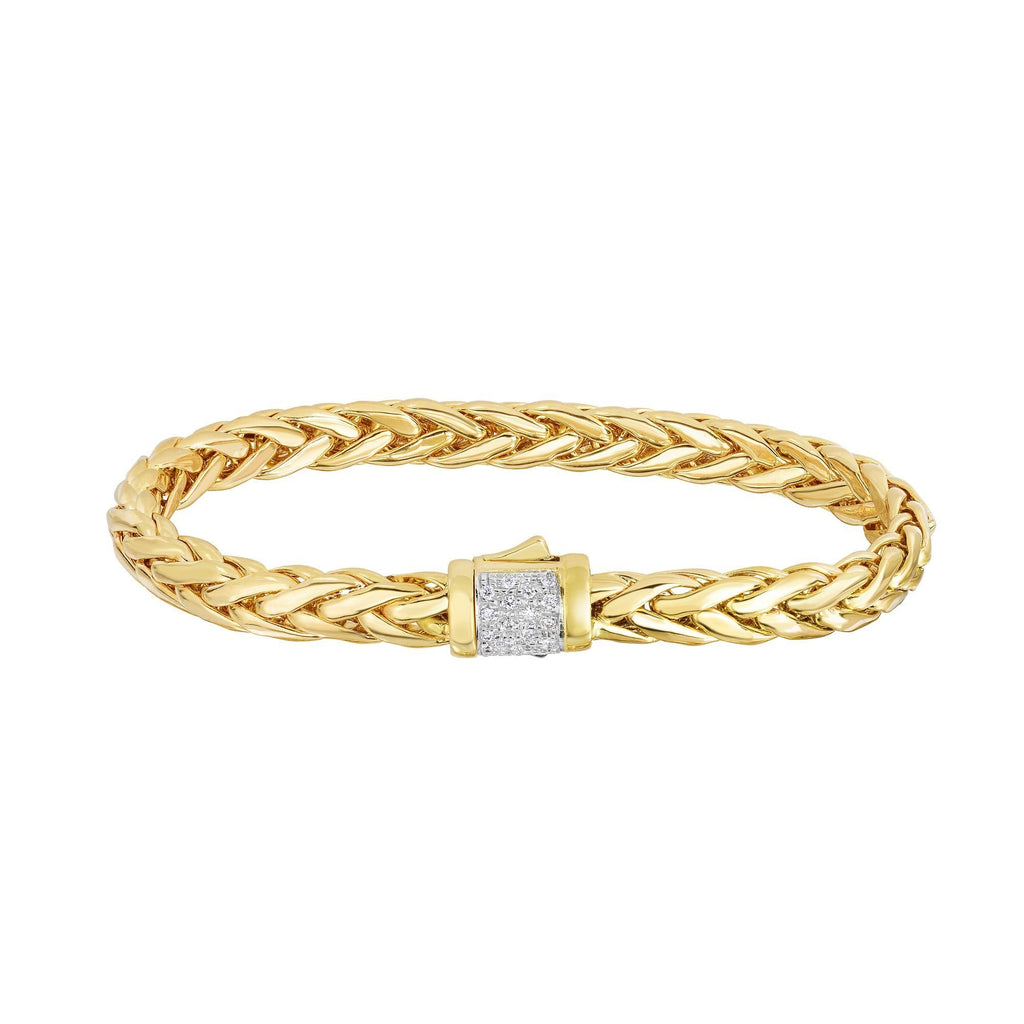 14K Gold Woven Large Diamond Pave Lock Bracelet - Phillip Gavriel