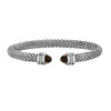 Sterling Silver Popcorn Gemstone & Diamond Classic Cuff Bangle