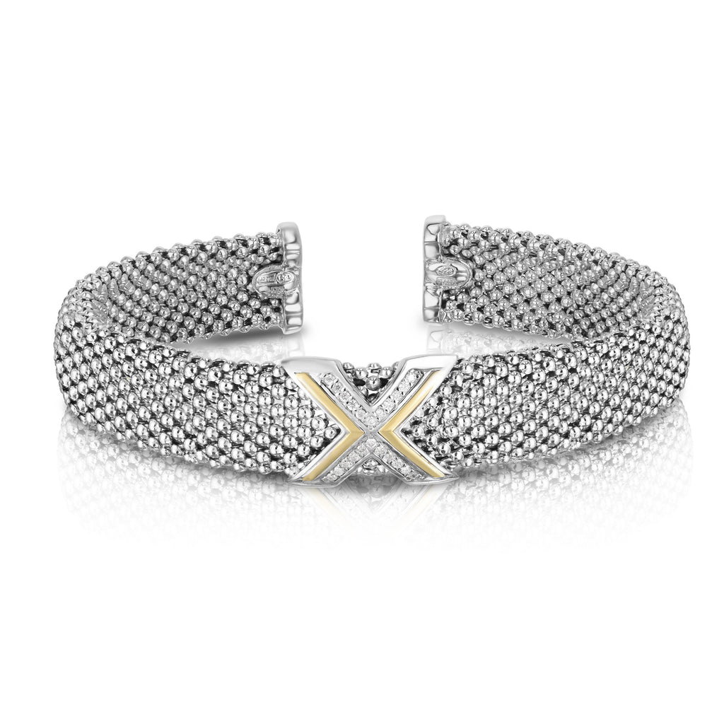 "Sterling Silver & 18K Gold .11Ct Diamond ""X"" Cuff - Phillip Gavriel"