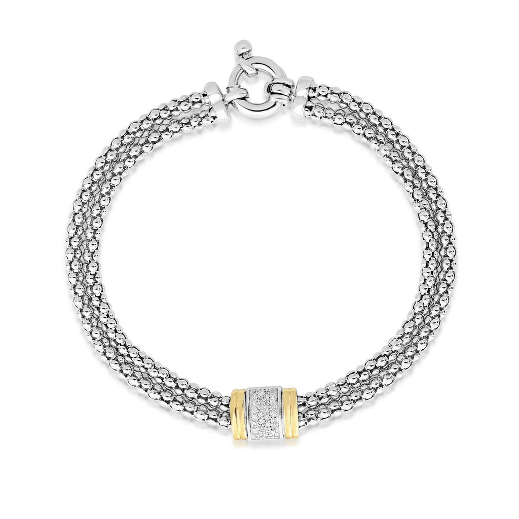 Sterling Silver & 18K Gold .13Ct Diamond Bracelet - Phillip Gavriel