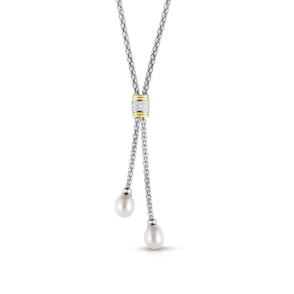 Sterling Silver & 18K Gold .13Ct Diamond & Pearl Lariat Necklace - Phillip Gavriel