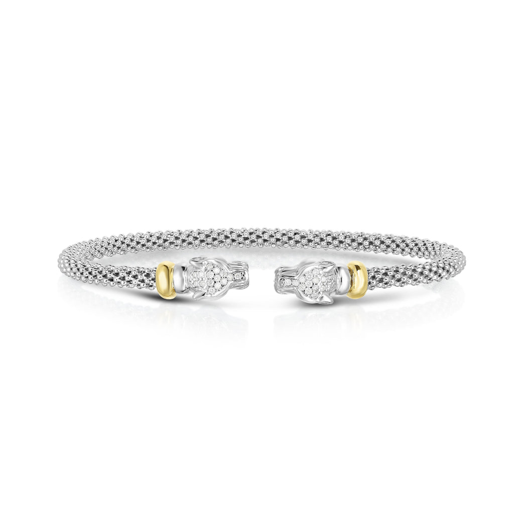 Sterling Silver & 18K Gold .15Ct Diamond Panther Cuff - Phillip Gavriel