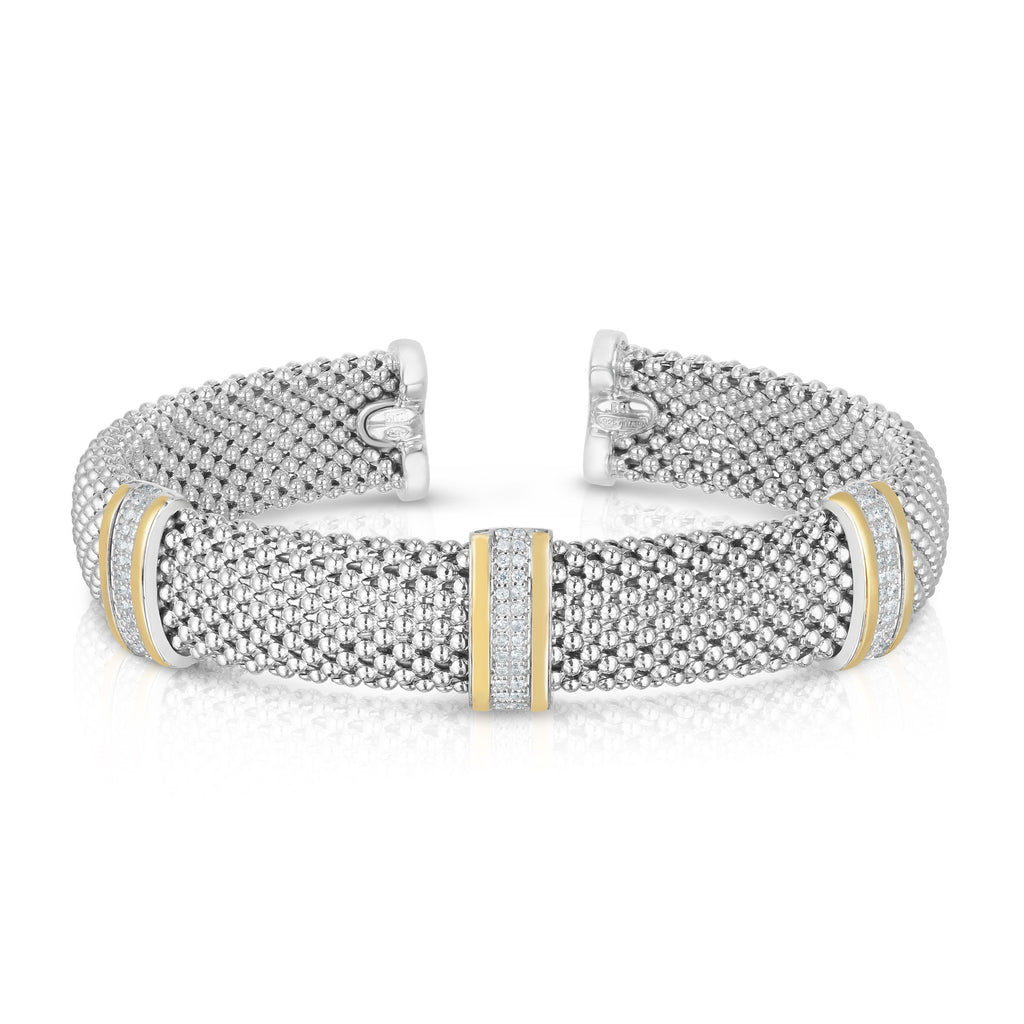 Sterling Silver & 18K Gold .39Ct Diamond Bar Cuff - Phillip Gavriel
