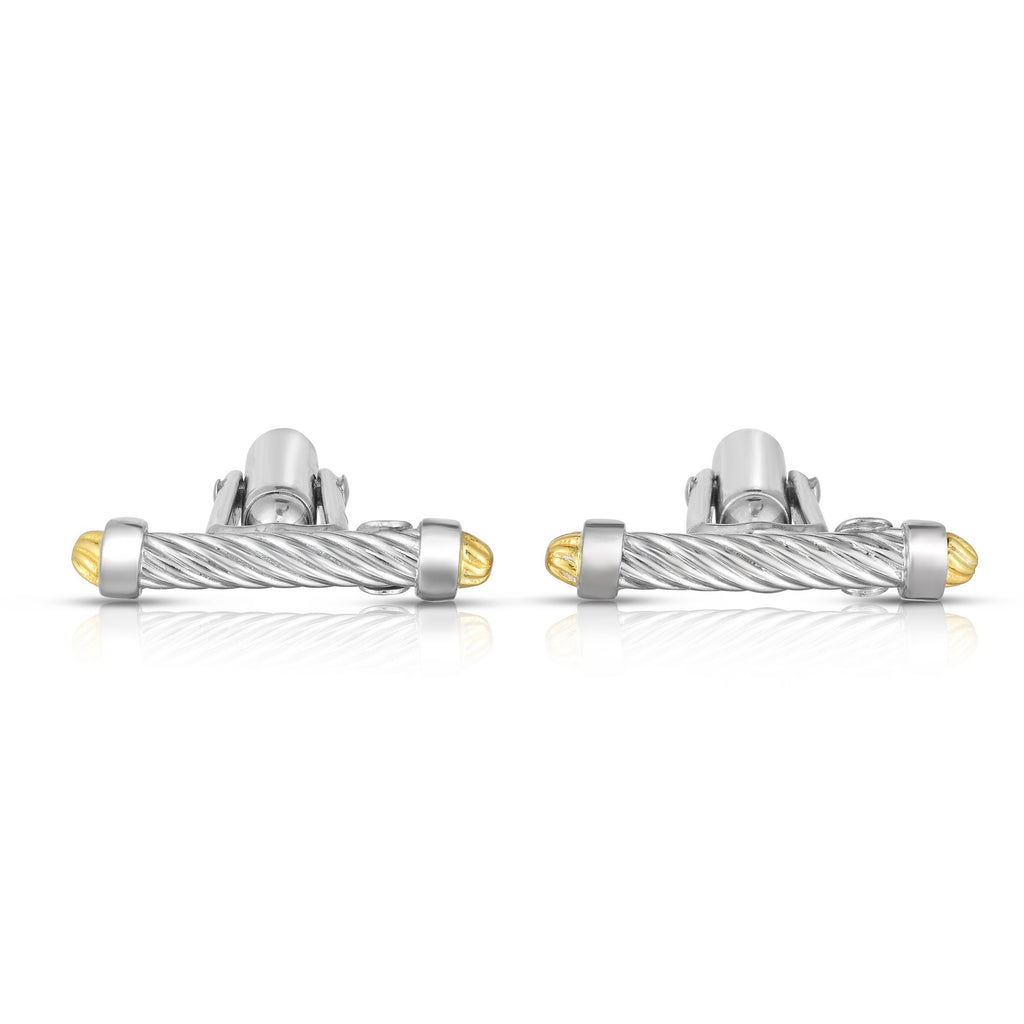 Sterling Silver, 18K Gold Cable Bar Cufflinks - Phillip Gavriel
