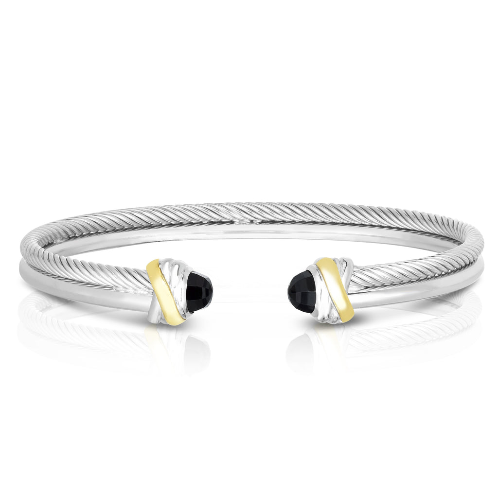 Sterling Silver & 18K Gold Italian Cable Cortina Cuff Bangle - Phillip Gavriel