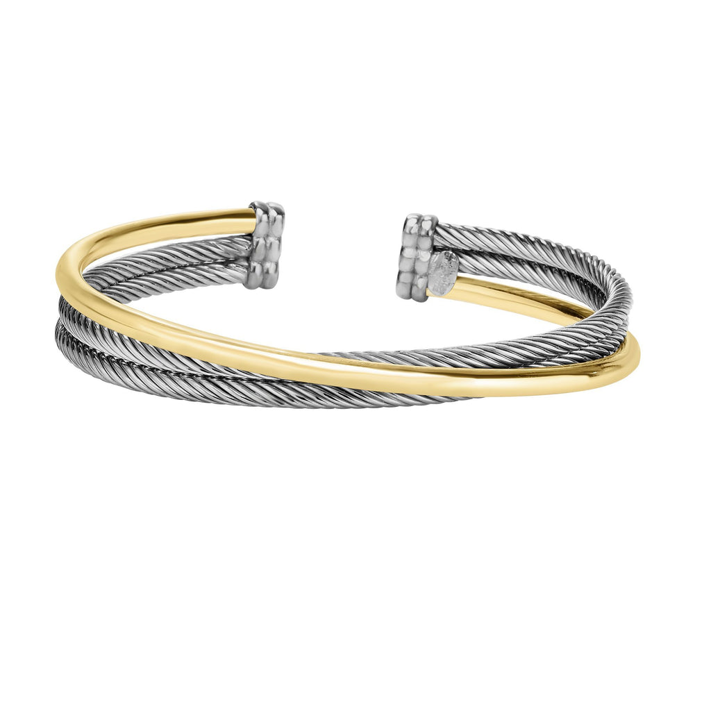 Sterling Silver & 18K Gold Italian Cable Triple Row Abbraccio Cuff - Phillip Gavriel