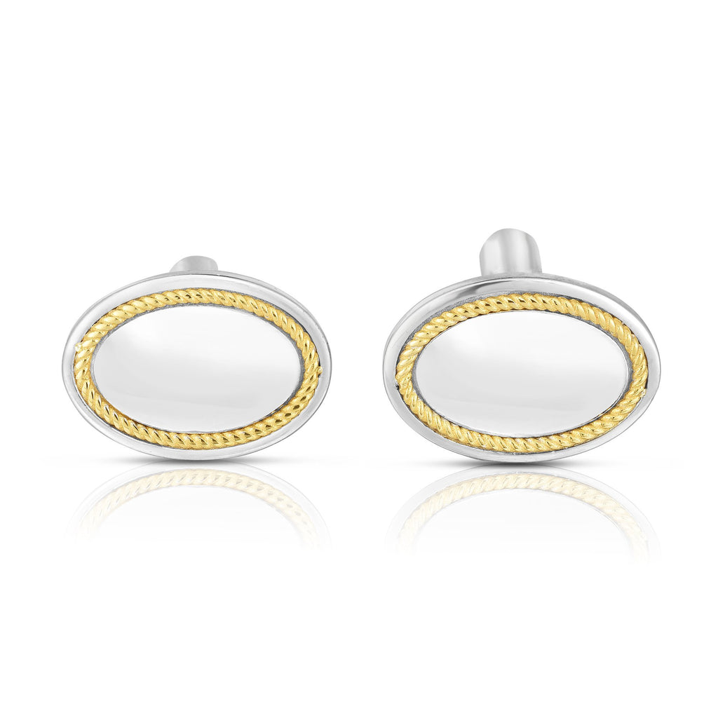 Sterling Silver, 18K Gold Oval Cufflinks - Phillip Gavriel
