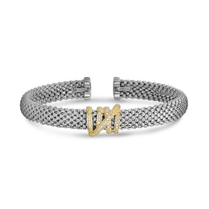 Sterling Silver & 18K Gold Popcorn Diamond Tally Bangle - Phillip Gavriel