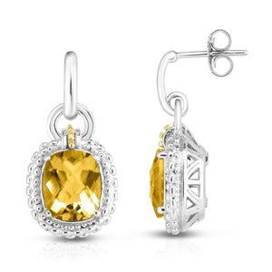 Sterling Silver & 18K Gold Popcorn Large Gemstone Drop Earrings - Phillip Gavriel