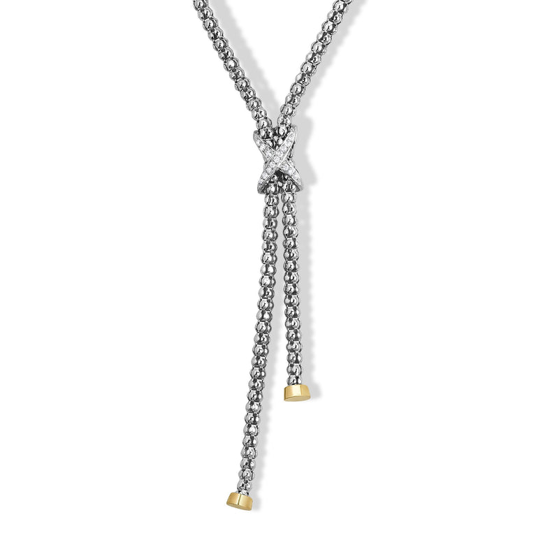 Sterling Silver & 18K Gold Popcorn X Diamond Necklace - Phillip Gavriel