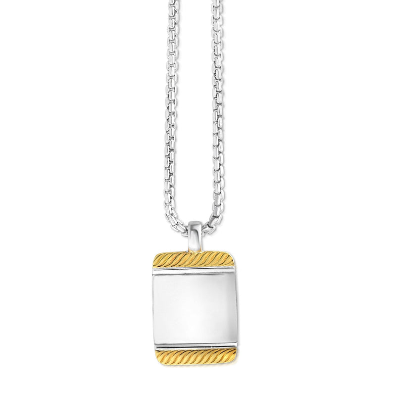 Sterling Silver, 18K Gold Tag Necklace - Phillip Gavriel