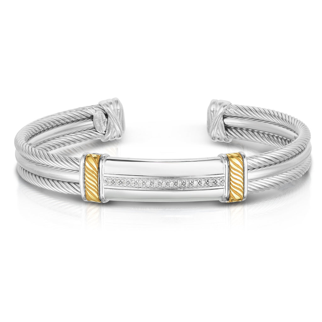 Sterling Silver, 18K Gold Triple Strand Cable Men's Cuff - Phillip Gavriel