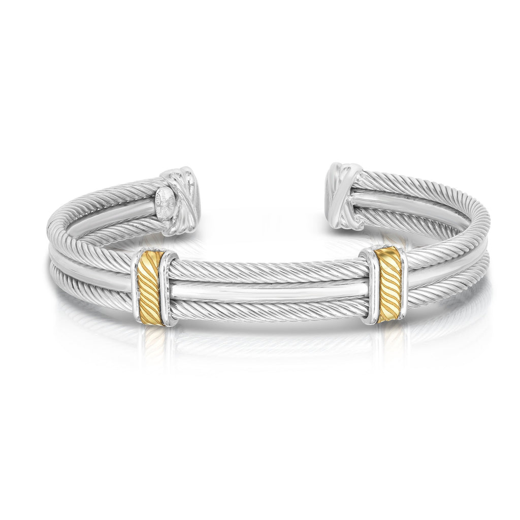 Sterling Silver, 18K Gold Triple Strand Diamond Cable Men's Cuff - Phillip Gavriel