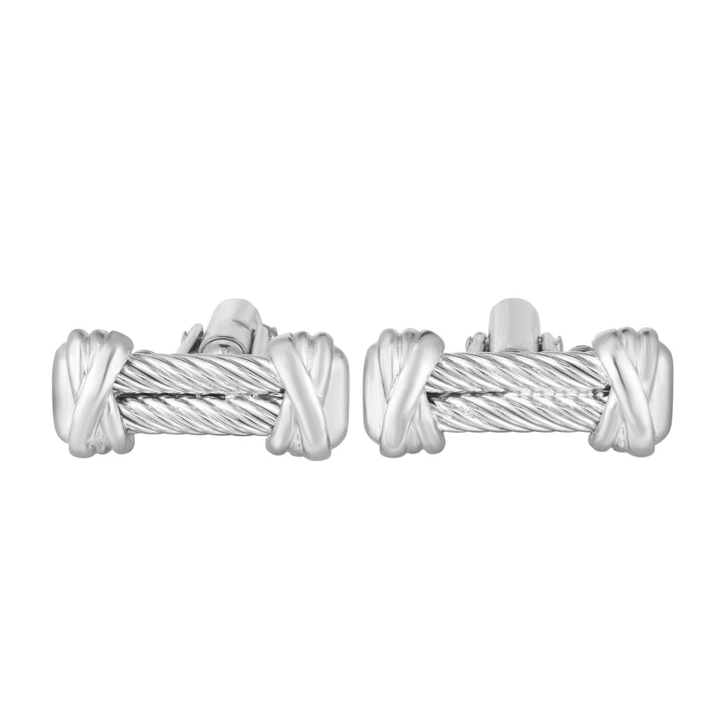 Sterling Silver Double Cable Cufflinks - Phillip Gavriel