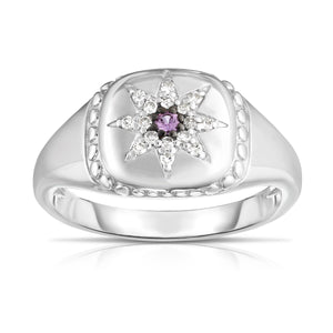 Sterling Silver Gemstone & Diamond Star Signet Ring - Phillip Gavriel