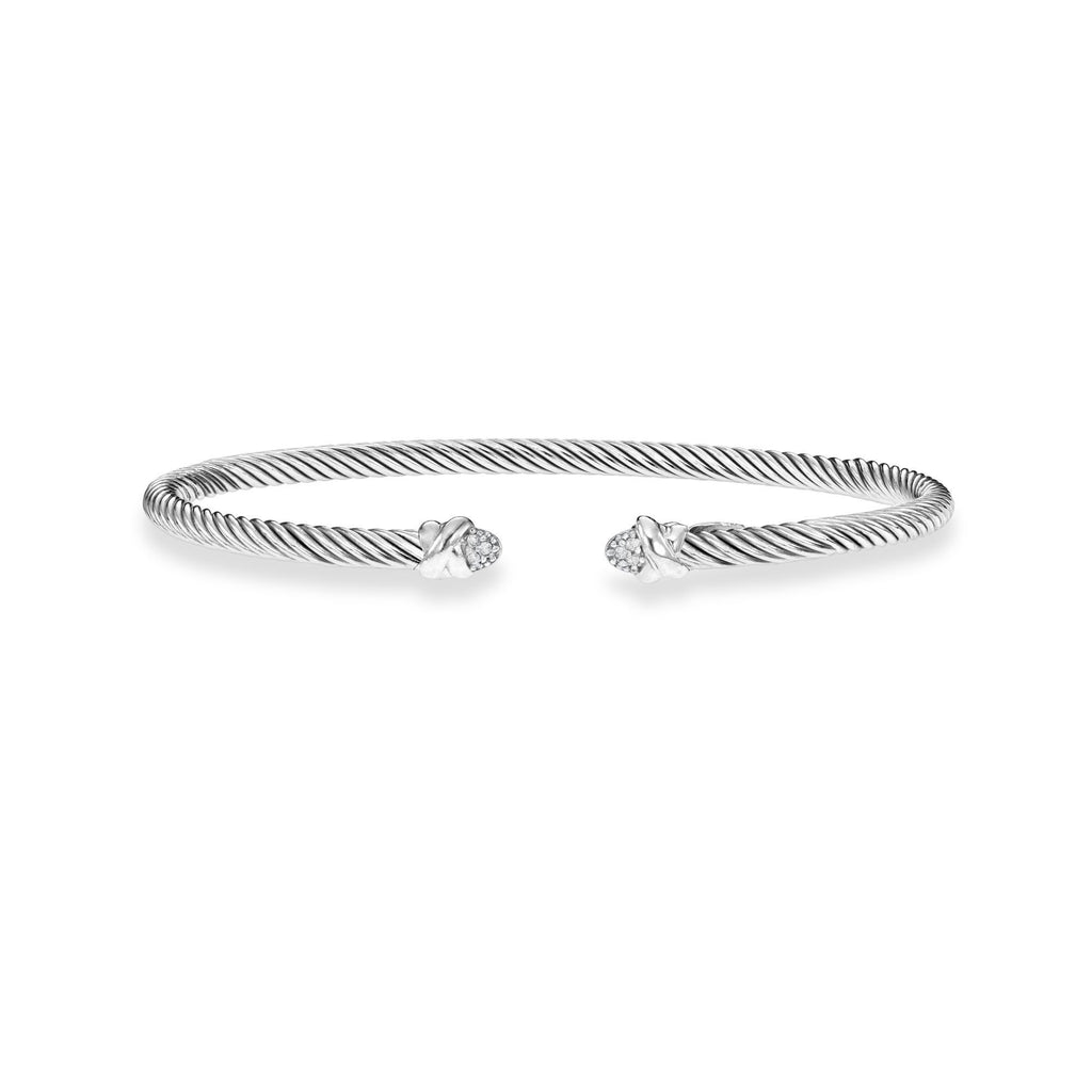 Sterling Silver Italian Cable Classic Cuff Diamond Bangle - Phillip Gavriel
