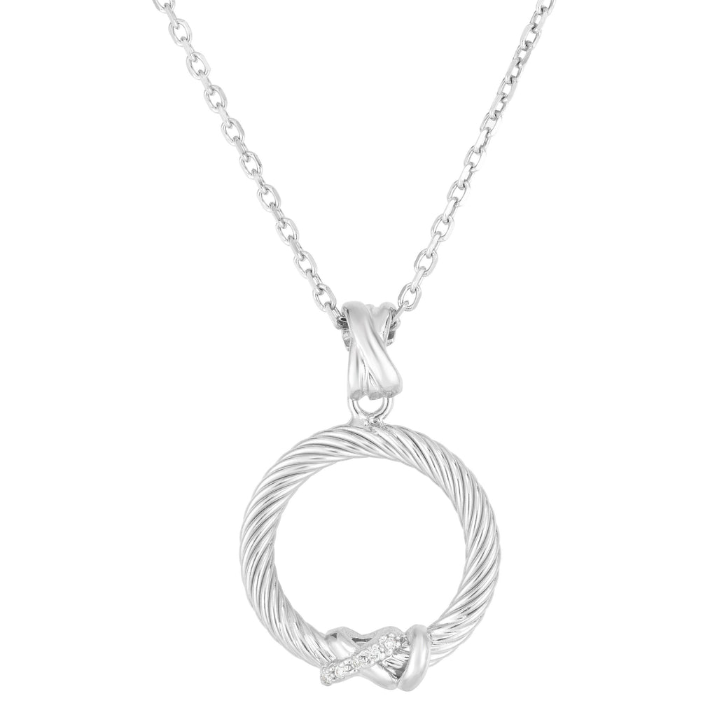 Sterling Silver Italian Cable Diamond Accent Filo Circle Pendant - Phillip Gavriel