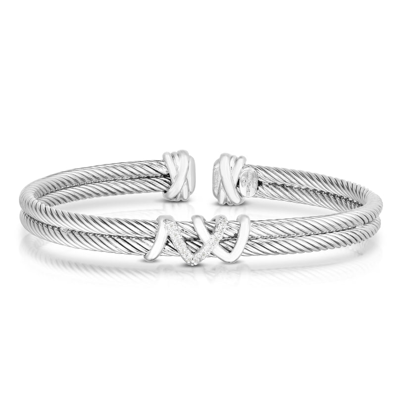 Sterling Silver Italian Cable Diamond Filo Double Cuff - Phillip Gavriel